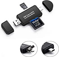 MDT SD Card Reader, 3-in-1 USB 2.0/USB C/Micro USB Card Reader - SD, Micro SD, SDXC, SDHC, Micro SDHC, Micro SDXC Memory Card Reader for MacBook PC Tablets Smartphones with OTG Function, Black