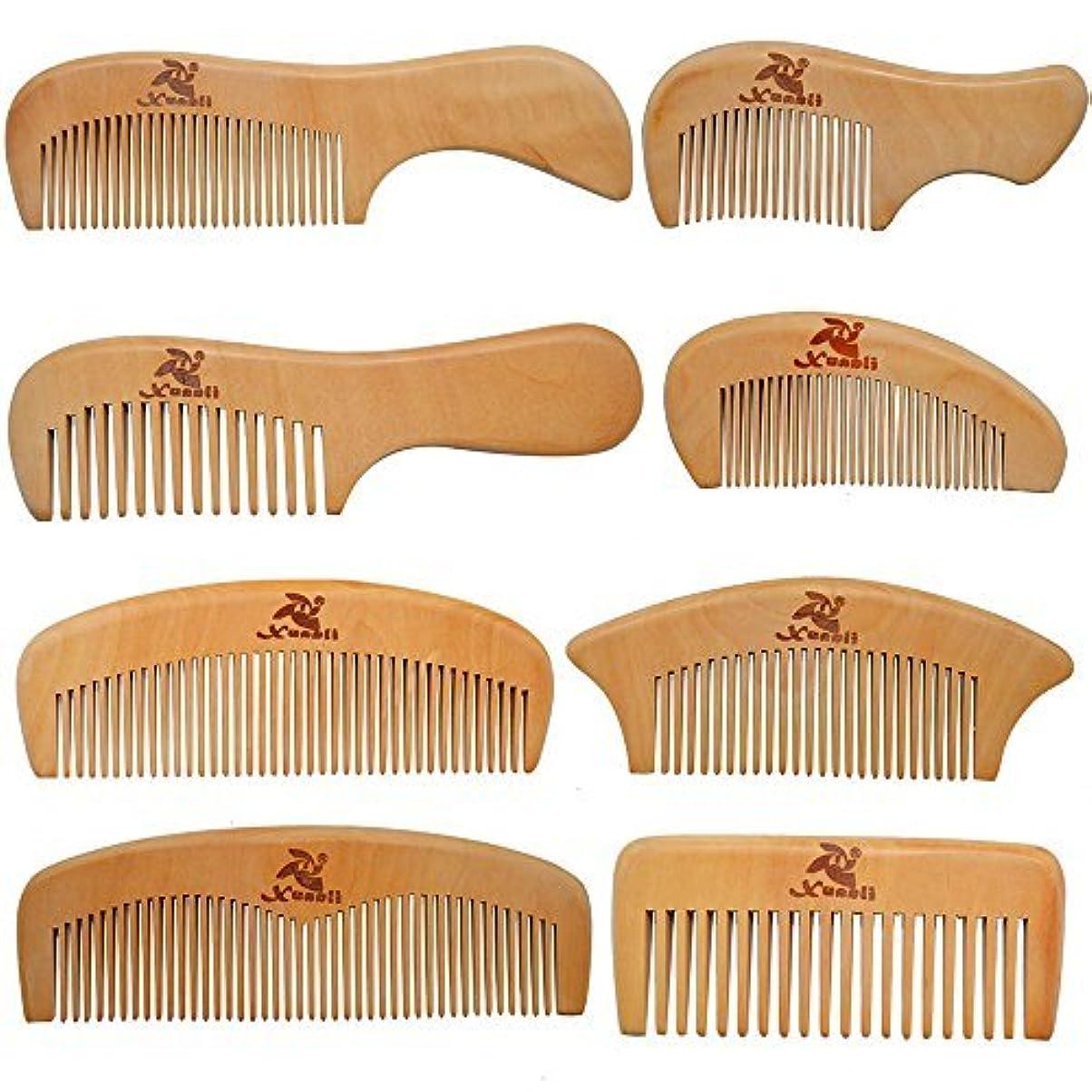 献身エンドウアコーXuanli 8 Pcs The Family Of Hair Comb set - Wood with Anti-Static & No Snag Handmade Brush for Beard, Head Hair...