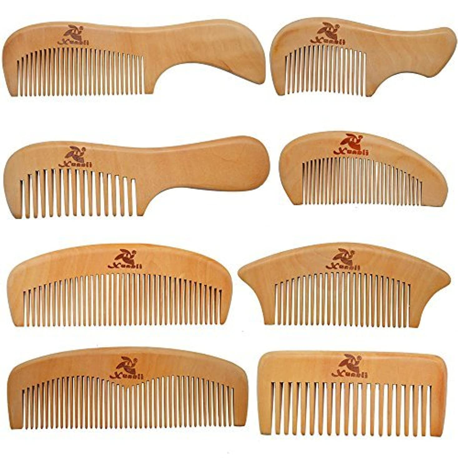 取り替える読みやすい仲間Xuanli 8 Pcs The Family Of Hair Comb set - Wood with Anti-Static & No Snag Handmade Brush for Beard, Head Hair...