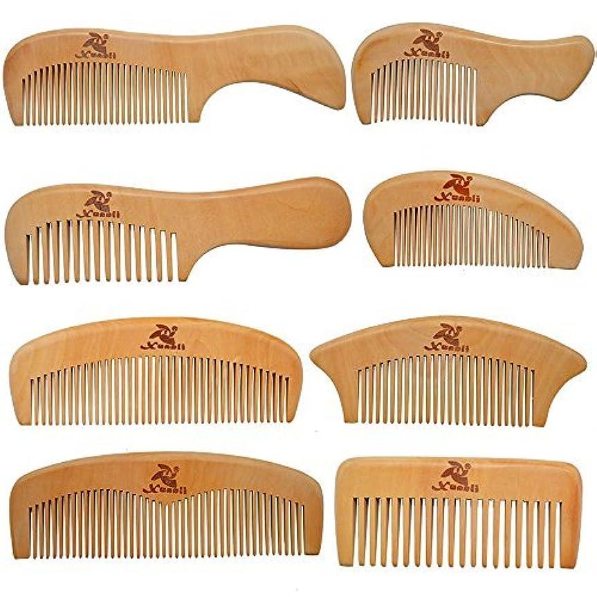 製油所指導するアクセスできないXuanli 8 Pcs The Family Of Hair Comb set - Wood with Anti-Static & No Snag Handmade Brush for Beard, Head Hair...