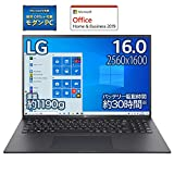 【MS Office搭載】LG ノートパソコン gram 1190g/バッテリー最大30時間/Core i7/16インチ WQXGA(2560×1600)/メモリ 16GB/SSD 1TB/Thunderbolt4/ブラック/16Z90P-KA78J1 (2021年モデル)