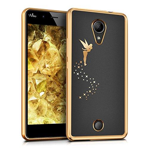 kwmobile TPUシリコンケース 妖精デザイン Wiko Tommy用 ゴールド透明 - シックな携帯電話用保護ケース