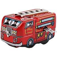 baynneレトロクラシック消防士Fire Engine Truck Clockwork Wind Up Tinおもちゃ