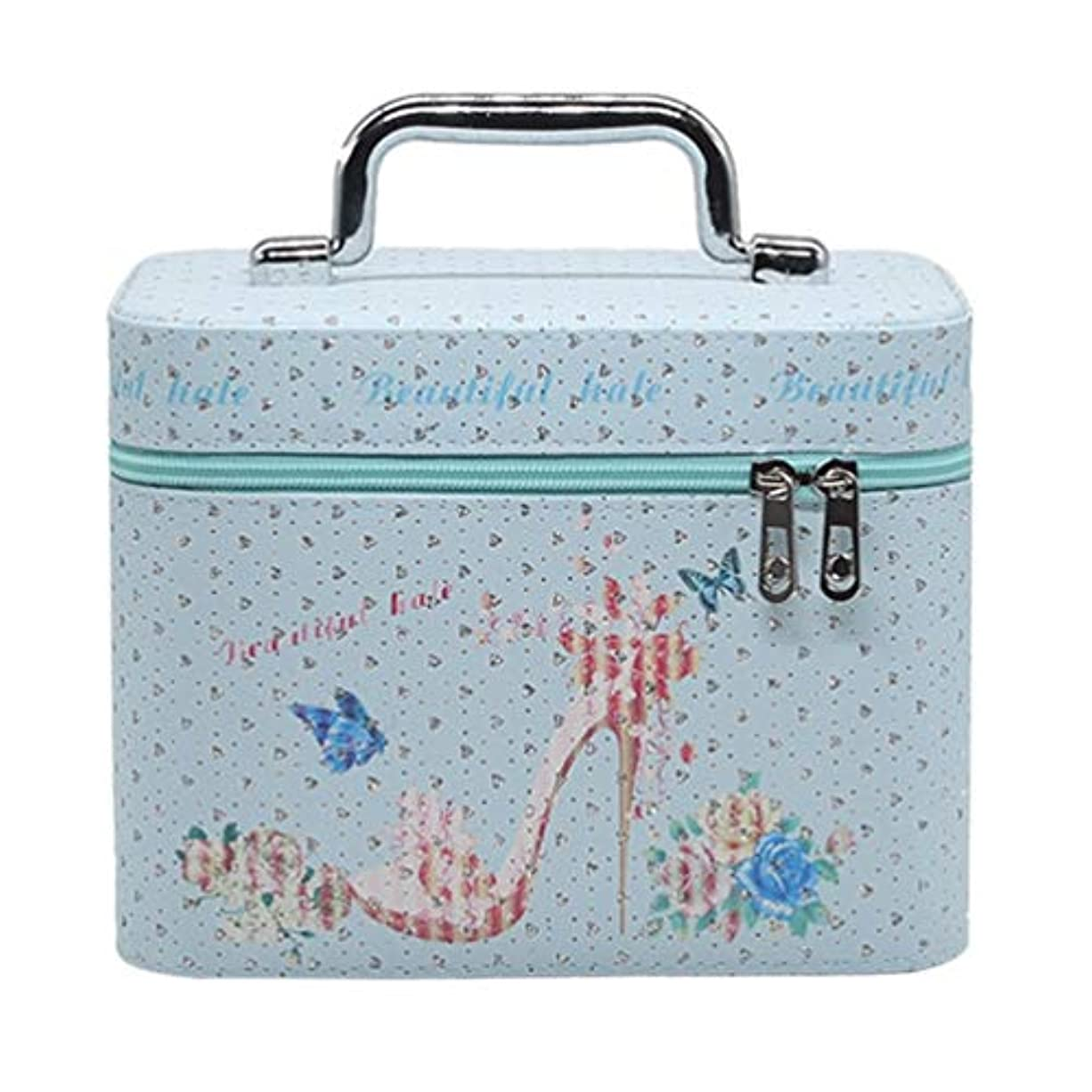 の頭の上知覚するクッションメイクボックス 可愛い コスメボックス 化粧品箱 収納ボックス 鏡付き ダブルジッパー スムース 防水 手提げ おしゃれ 花柄 ピンク ガールズ プレゼント