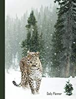 Daily Planner: 2019 - 2020 Leopard in Snow Yearly Planner I January 19 - December 19 | Writing Notebook | Plan Days, Set Goals & Get Stuff Done