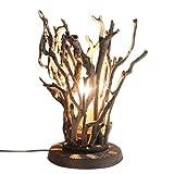JiaYouJia 素朴な手作りの自然の木の枝 固体木製のベースと1ライトの小枝 テー ブルランプ