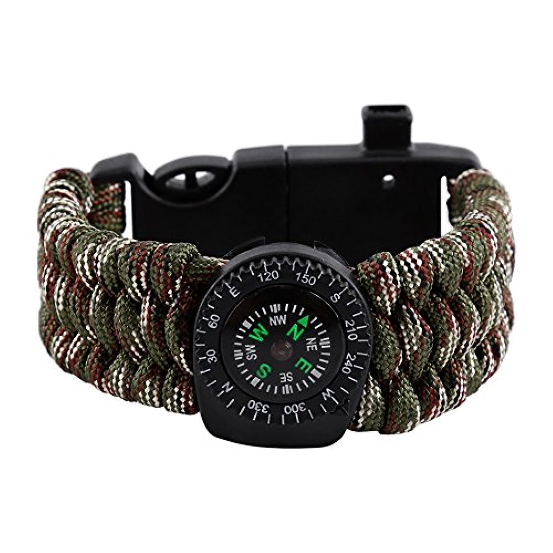 試み南東有害なブレスレット サバイバルブレスレット 腕時計 アウトドア ウォッチ 多機能/野外生存ブレスレット登山 キャンプ 旅行用 5 色