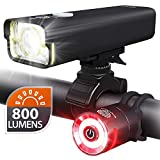 BrightRoad Rechargeable 800 Lumens Bike Light Front and Back Bicycle Light Set, USB Headlight & Tail Lights, IPX6 Waterproof for Cycling – Strong Led Flashlights Increase Visibility Safety Rear Light