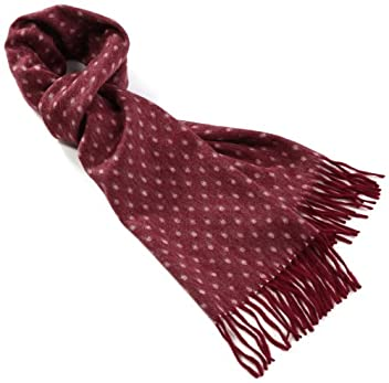 Cashmere Reversible Dot Scarf 1436-699-1393: Wine