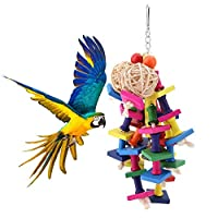 鳥のおもちゃ Acouto ペット鳥用 止まり木 噛むおもちゃ スタンド スイングリング はしご 吊り下げ玩具 ストレス解消 運動不足対策 インコ オウムなどの小鳥用