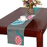 LKCDNG テーブルランナー かわいい花 鳥 クロス 食卓カバー 麻綿製 欧米 おしゃれ 16 Inch X 72 Inch (40cm X 182cm) キッチン ダイニング ホーム デコレーション モダン リビング 洗える