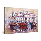 STARTONIGHT キャンバスウォールアート 抽象画 - ギリシャのクレタ島の古い漁師の港- 大きなフレーム入りアートワーク 32インチx48インチ