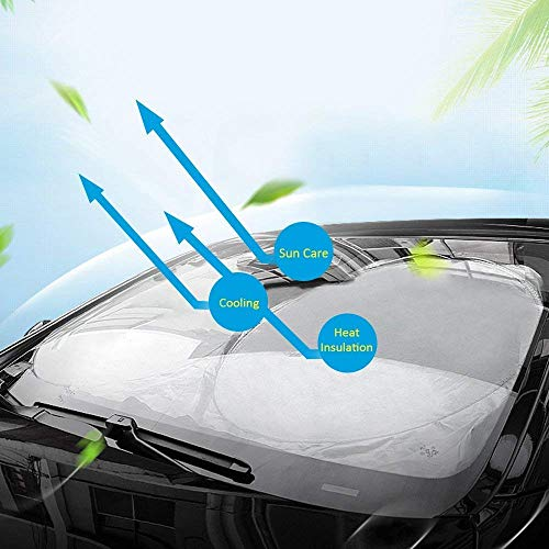 【在庫処理、特価販売!】 Wsiiroon カーフロントカバー 車用遮光サンシェード フロントシェー...