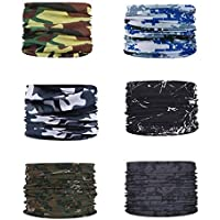 Face Shields for Men Women Camouflage Solid Color Mask Headband Sweatband Magic Scarf Abti-UV Dust Music Festival Fishing Cycling Value Pack