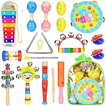 打楽器 ドラム トランペット タンバリン セット Maxxrace 幼児楽器 パーカッション おもちゃ 早期教育 子供 7点セット 子供おもちゃ 楽器