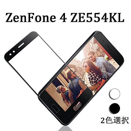 ZenFone 4 ZE554KL フィルム,3?曲面 炭素繊維 ZenFone 4 ZE554KL ガラスフィルム ゼンフォン4 液晶保護フィルム 高透過率 気泡ゼロ 指紋防止 2色選択 by Hitcrunch (ブラック)