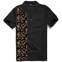 Music Panel Mens Shirts Rock N Roll Casual Rockabilly Bowling Shirts