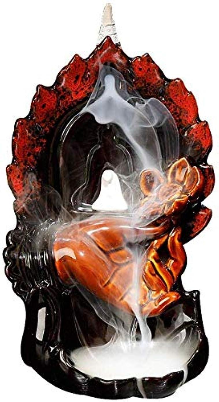 鼻夕食を食べるマッサージデコレーション逆流香バーナー、無料の10個の香コーン付き手作りセラミック逆流香ホルダー