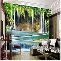 Wuyyii カスタム絵画室ロッキーマウンテンフォールズアート背景ベッドルーム3Dホームデコレーション壁紙用ウォール-200X140Cm