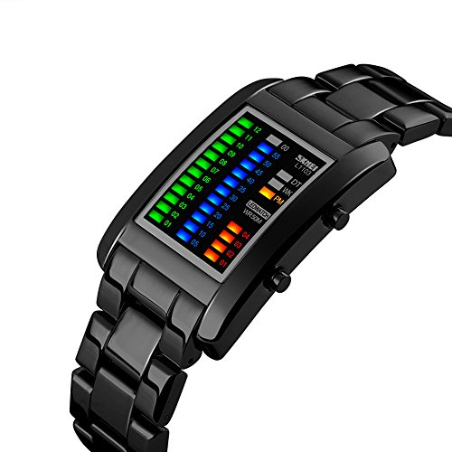 R-timer(アールタイマー)防水腕時計 メンズ ビジネス風 腕時計 大文字盤 合金制バンド防水腕時計 メンズ led 腕時計 デジタル表示 ledライト付き 合金 ベルト防水腕時計 バイナリ制デザイン(ブラック)