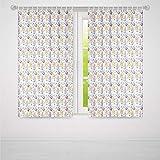 YOLIYANA 遮光ウィンドウカーテン キッチン装飾 窓用ドレープ 2パネルセット リビングルーム/寝室用 抽象的な民芸タイルパターン ホームカフェ インテリア装飾 キッチンウェアプリント 37W X 51L Inches Z-02_03_194096