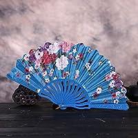 ファン 和風 最高の中国風のダンスの結婚披露宴のレースの絹の折る手持ち型の花ファン 家の装飾紙ファン踊る ダンシング ファンダンス 歌舞伎小物 (スカイブルー)