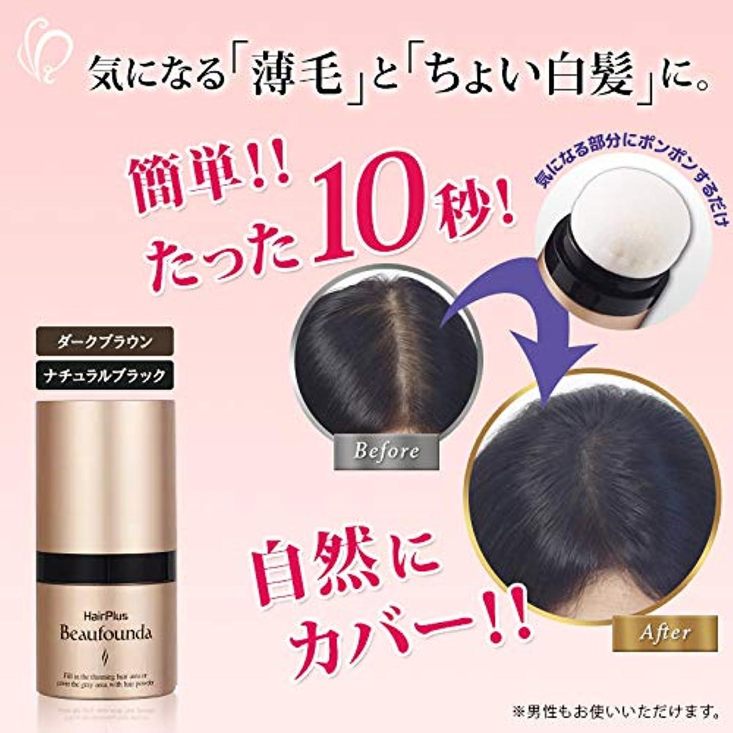 表向き個人的な反発する女性用増毛パウダー ヘアプラス ビューファンデ パウダー ダークブラウン(こげ茶)単品1個 薄毛隠し 白髪隠し