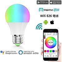 Magic Hue WiFi スマートLED RGBW電球 ワイヤレスタイミングスマート LED照明電球 操作調光 調色モードライト WiFi操作 スマホン 非常灯 スマートフォンコントロール 用の新しいマジックホーム E26 (40W光度相当)