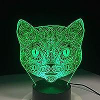 Dtcrzj Ai猫の顔3 Dビジュアルランプ錯視Ledナイトライトアメージング7色アート猫ヘッドタッチ敏感スイッチランプ