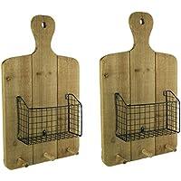 A & Bホーム木製&メタル装飾壁フック素朴な木製Hangingカッティングボードwithバスケットフックと壁のセット2 13 x 21.5 X 3.75インチTan