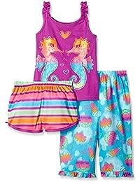 Komar Kids Girls ' 3 Piece Sleepwear Set Sea Horse Short Set with Print Pant