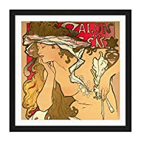Mucha Salon des Cent Art Nouveau Square Wooden Framed Wall Art Print Picture 16X16 Inch ヌーボー木材壁画像