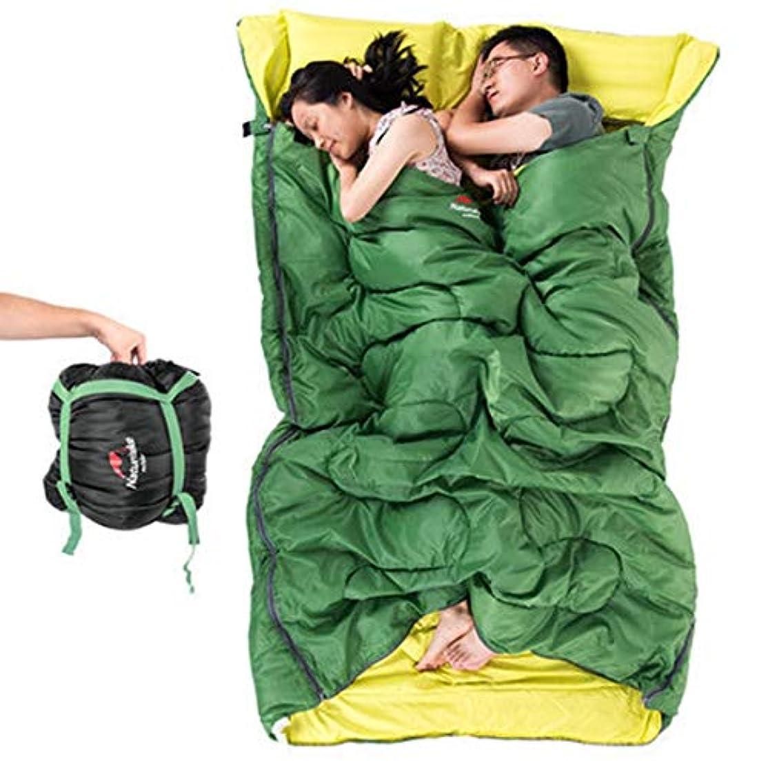 符号気分が悪い肥満Nekovan 2人用薄型寝袋アウトドアトラベル4シーズンライナーキャンプコットンワイド化と厚い寝袋/グリーン (色 : オレンジ)