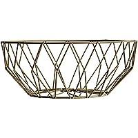 Pueriフルーツバスケット幾何メタルワイヤ装飾ストレージバスケットフルーツボウルスナックプレート ゴールド