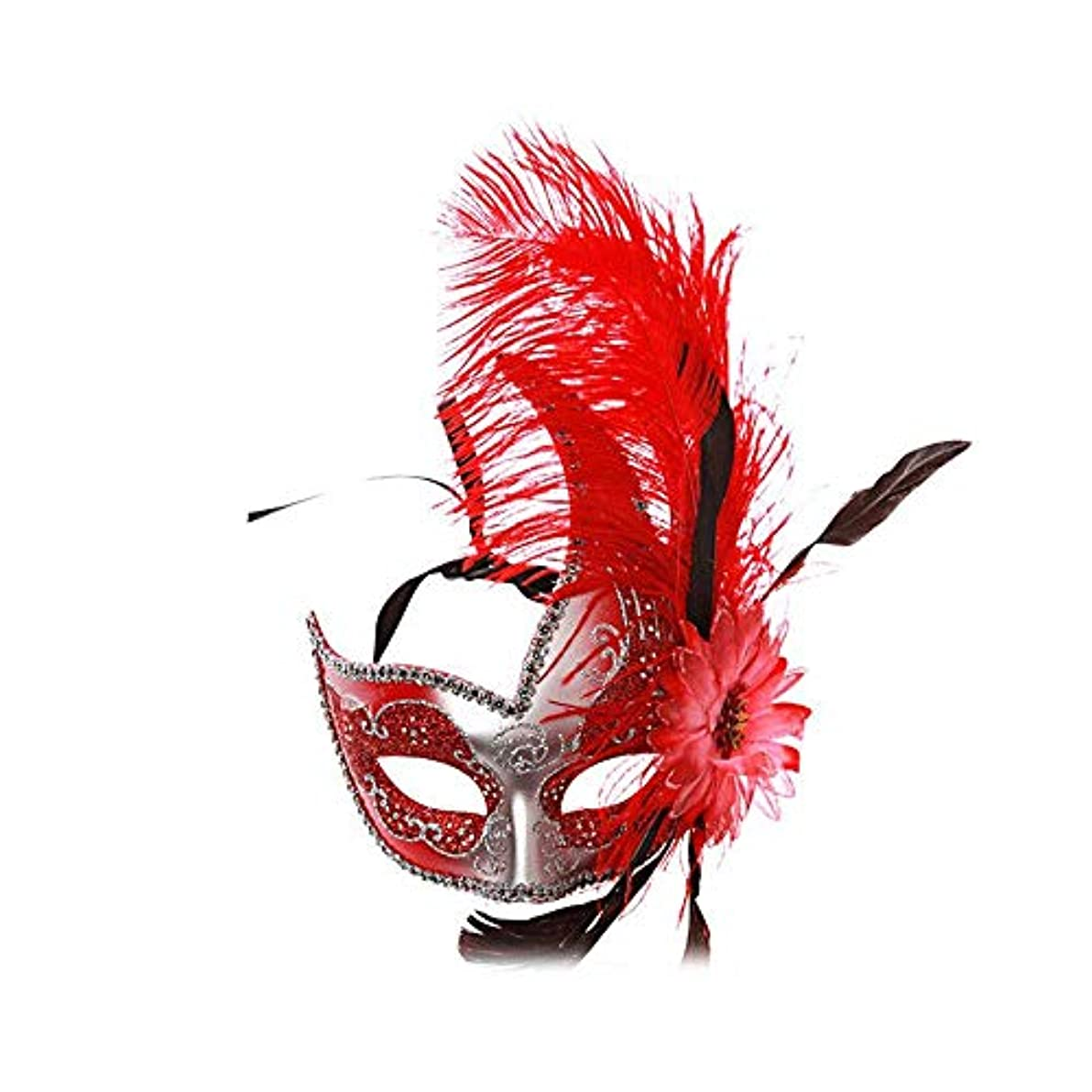 スパン生きる嵐が丘Nanle ハロウィンマスクハーフフェザーマスクベニスプリンセスマスク美容レース仮面ライダーコスプレ (色 : Style B red)