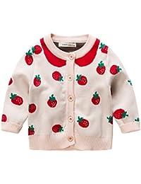 Fairy Baby 女の子 ニットカーディガン イチゴ柄 ニット編み セーター 長袖 ベビー服 キッズ お出かけ size 90