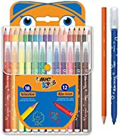 BIC Kids Colouring Set - 18 Assorted Coloured Pencils/12 Assorted Felt Tip Pens, Portable Case of 30 Colouring Pieces...