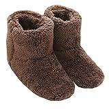 Mianshe 北欧 暖かい もこもこ ルームシューズ 男女兼用 足首まで暖かルームブーツ 冬用 防寒 ボアスリッパ (ブラウン Lサイズ 27cmくらいまで)