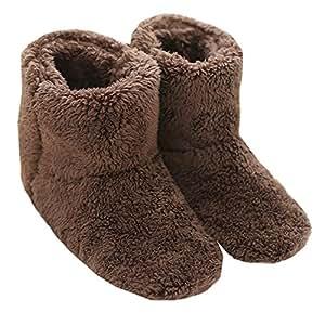 Mianshe 冬 北欧ルームシューズ ルームブーツ 暖かい もこもこ 可愛い 靴下 来客用 男女兼用 (Lサイズ 26cmくらいまで, ブラウン)