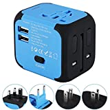 Universal Travel Adapter, International Power Adapter with 2.4A Dual USB Ports Worldwide AC Wall Outlet and Safety Fuse for Europe, UK, AU, Asia &US(Blue)