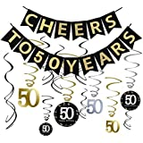 tuoyi 40th誕生日パーティーデコレーションキット – Cheers To 40年、バナーSparkling Celebration 30 Hanging Swirls、完璧40 Years OldパーティーSupplies 40th Anniversary Decorations ブラック Tuoyi-5