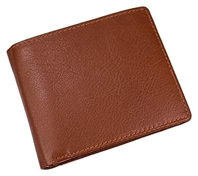 プラスエイチ(Plus H) 財布 二つ折り財布 メンズ 革 外内側両面レザー 小銭入れ付き カード9枚収納 レザー 牛革 PH7990 (ブラウン)