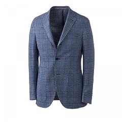 Cantarelli Wool Plaid 3-button Jacket: Blue