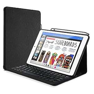 ProCase iPad 9.7 キーボード ケース Apple Pencilホルダー付き スリム スマートカバー スタンドケース 無線ブルートゥースキーボードが内蔵 Apple iPad 9.7インチ 2018 /2017対応 –ブラック