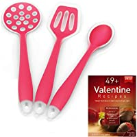 Silicone Cooking Utensils Starter Set, Set of 3, Red, Turner Spoon Spatula Plus Cooking Secrets Ebook by Silicone Designs