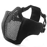 Unigear メッシュ フェイス マスク サバゲー装備 ハーフマスク 曇らない フェイスガード (黒)