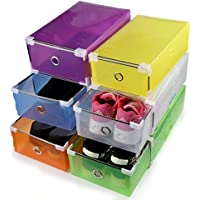 (6) - ONEDONE Foldable Plastic Shoes Boxes Container for Closet Organiser,Set of 6