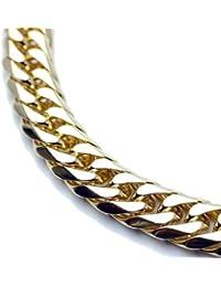 シルバーワン(Silver1)on ダブル喜平 ネックレス[金色 6面カット 幅20mm]50cm 差込式 極太 ゴールド チェーン GOLDステンレス メンズ 2cm