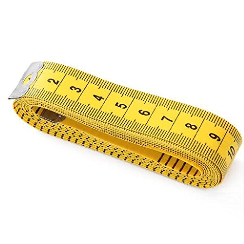Prettyia 2個入り 柔軟性 テープ メジャー 両面用 縫製テーラー 定規 自在曲線 巻尺 300cm/120インチ 黄色