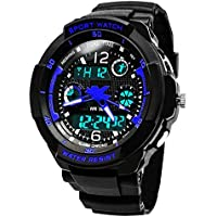 Kids Digital Watches for Boys, Childrens Outdoor Sports Analogue Watch with Alarm/Timer/EL Light, Teenagers Electronic Wrist Watches with 5ATM Waterproof/Shock Resistant for Junior Boy - Blue